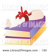Clip Art of a Bright Red Ribbon Tied Around a High School Diploma on Top of Two Text Books by Rasmussen Images