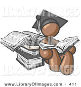 Clip Art of a Brown Male Student Sitting in a Graduation Cap, Reading a Book and Leaning Against a Stack of Books by Leo Blanchette
