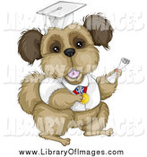 Clip Art of a Brown Terrier Dog Graduate in a White Cap and Gown by BNP Design Studio