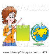 June 28th, 2013: Clip Art of a Brunette Friendly Female Teacher Holding a Blank Sign and Pointer Stick and Standing by a Globe by Alex Bannykh