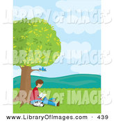 April 30th, 2013: Clip Art of a Brunette Teenage Boy Reading a Book Under Bluebirds in a Tree, His Dalmatian Puppy Curled up and Sleeping Next to Him by Maria Bell