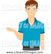 Clip Art of a Brunette White Male Teacher Gesturing with His Hand by BNP Design Studio