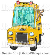 Clip Art of a Bus Driver Man Driving a School Bus Full of Young Students by Djart