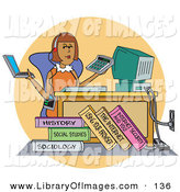 Clip Art of a Busy Female College Student Working on a Laptop, Using a Calculator and Computer near Her Textbooks All While Listening to Music at Her Desk by Andy Nortnik