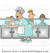 Clip Art of a Cafeteria Lady Putting Together Plates of Food for School Children Waiting in Line by Djart