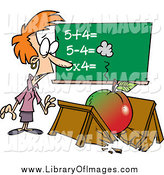 Clip Art of a Cartoon Big Apple Crushing a Red Haired White Female Teacher's Desk by Toonaday