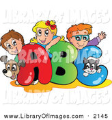 Clip Art of a Cartoon Dog Cat and Caucasian School Children on ABC by Visekart