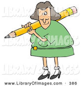 Clip Art of a Caucasian Female Teacher in a Green Dress, Carrying a Giant Yellow Pencil on Her Shoulder, Grading Student Papers by Djart