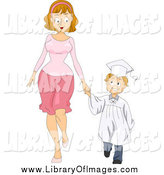January 9th, 2015: Clip Art of a Caucasian Graduate Boy Holding Hands with His Mom by BNP Design Studio