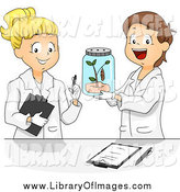 Clip Art of a Caucasian SChool Children Studying a Butterfly in a Science Lab by BNP Design Studio