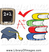 Clip Art of a Chalk Board, Check Mark, a Plus Grade, Books and Graduation Cap by Prawny