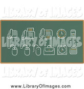 March 12nd, 2015: Clip Art of a Chalk Sketched Items on a Green Board by Qiun