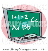 Clip Art of a Chalkboard with Letter of the Alphabet and Addition Written on It in a Math School Classroom by Andy Nortnik