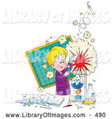 Clip Art of a Cheerful Little Boy Creating an Explosion During a Science Experiment by Alex Bannykh