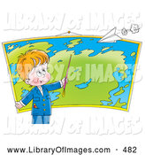 August 6th, 2013: Clip Art of a Cheerful Smart Little Boy Pointing to a Location on a Map in Geography Class, a Paper Airplane Flying Above by Alex Bannykh