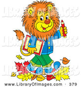 Clip Art of a Cheerful Smart Young Male Lion Wearing Clothes, Walking Through Fallen Leaves and Carrying a Book and Pencil to School by Alex Bannykh