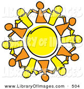 January 22nd, 2013: Clip Art of a Circle of Orange and Yellow Guys Holding Hands, Symbolizing Teamwork and Support by Andy Nortnik