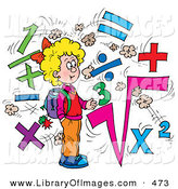 Clip Art of a Clever School Girl Surrounded by Math Symbols by Alex Bannykh
