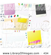 Clip Art of a Cluttered White Bulletin Board Background with Tally Marks, Faces, Push Pins, Thumb Tacks, Blank Messages and Sticky Notes Pinned up by Beboy