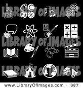 Clip Art of a Collection of 16 Black and White School Subject Icons on a Black Background by AtStockIllustration