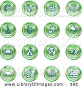 Clip Art of a Collection of 16 Green Icons of Music Notes, Guitar, Clapperboard, Atom, Microscope, Atoms, Messenger, Painting, Book, Circus Tent, Globe, Masks, Sports Balls, and Math by AtStockIllustration