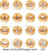 Clip Art of a Collection of 16 Orange Icons of Music Notes, Guitar, Clapperboard, Atom, Microscope, Atoms, Messenger, Painting, Book, Circus Tent, Globe, Masks, Sports Balls, and Math by AtStockIllustration