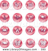Clip Art of a Collection of 16 Red Icons of Music Notes, Guitar, Clapperboard, Atom, Microscope, Atoms, Messenger, Painting, Book, Circus Tent, Globe, Masks, Sports Balls, and Math by AtStockIllustration