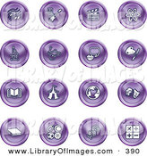 Clip Art of a Collection of Many Purple Icons of Music Notes, Guitar, Clapperboard, Atom, Microscope, Atoms, Messenger, Painting, Book, Circus Tent, Globe, Masks, Sports Balls, and Math by AtStockIllustration