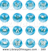 Clip Art of a Collection of Sixteen Blue Icons of Music Notes, Guitar, Clapperboard, Atom, Microscope, Atoms, Messenger, Painting, Book, Circus Tent, Globe, Masks, Sports Balls, and Math by AtStockIllustration