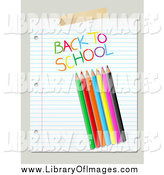 Clip Art of a Colored Pencils and Back to School Text on Ruled Paper over Beige by KJ Pargeter