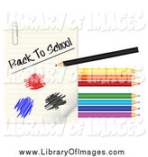 Clip Art of a Colored Pencils, Scribbles and Back to School Paper by Vectorace