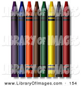 Clip Art of a Colorful Crayons on White by Leo Blanchette