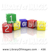 Clip Art of a Colorful Number and Alphabet Toy Blocks Resting on a Reflective White Surface by KJ Pargeter