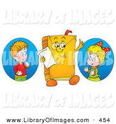 Clip Art of a Colorful Picture of a Boy and Girl Looking at a Book Character Wearing Glasses by Alex Bannykh