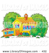 May 20th, 2013: Clip Art of a Colorful School House, Home or Building with Curtains in the Windows and a Flower Garden in the Yard by Alex Bannykh