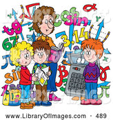 Clip Art of a Colorful School Picture of a Female Math Teacher and Students with a Calculator and Numbers by Alex Bannykh