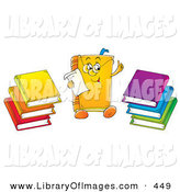 Clip Art of a Colorful Smart Book Character Wearing Glasses and Reading a Memo, Stacks of Colorful Books on the Sides by Alex Bannykh