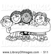Clip Art of a Coloring Page of Four Caucasian and African American Children Smiling and Holding up a Sign with a Puppy by C Charley-Franzwa
