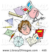 Clip Art of a Confused School Boy Surrounded by Scholarly Shapes, Rulers, Pencils and Books by Alex Bannykh