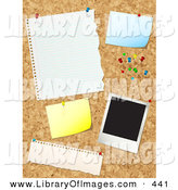 Clip Art of a Cork Board with Push Pins, Blank Messages and a Polaroid Picture on White by KJ Pargeter