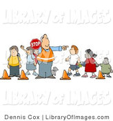 Clip Art of a Crosswalk Crossing Guard Man with a Red Stop Sign, Directing School Children and a Dog to Cross the Street by Djart
