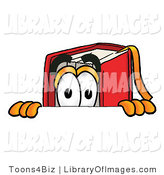Clip Art of a Curious Red Book Mascot Cartoon Character Peeking over a White Surface by Toons4Biz