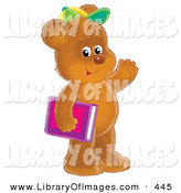 Clip Art of a Cute and Friendly Brown Bear Cub Student Wearing a Green and Yellow Hat, Carrying a Pink and Purple School Book and Waving by Alex Bannykh