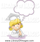December 29th, 2013: Clip Art of a Cute Blond Graduation Girl Thinking by BNP Design Studio
