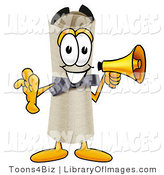 Clip Art of a Cute Diploma Mascot Cartoon Character Screaming into a Megaphone by Toons4Biz
