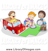 Clip Art of a Cute Diverse School Boys Making a Van by BNP Design Studio