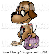 October 2nd, 2013: Clip Art of a Cute Dog Student Wearing Glasses and Walking with a Bag and School Book by Dero