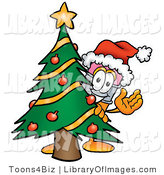 Clip Art of a Cute Festive Pencil Mascot Cartoon Character Waving and Standing by a Decorated Christmas Tree by Toons4Biz