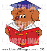 Clip Art of a Cute Graduate Dog Reading by Alex Bannykh