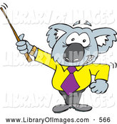Clip Art of a Cute Koala Professor Using a Pointer Stick by Dennis Holmes Designs